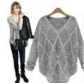 2016 осень / зима свободной женщины свитера Batwing рукавом выдалбливают верхнего трикотажа марка Desige знаменитости женщин пуловеры
