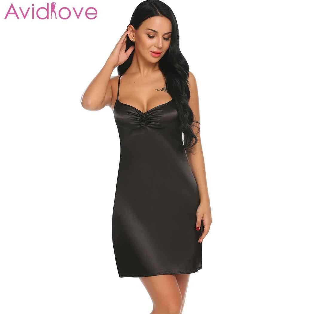 e3122aab32 Avidlove Nightgown Sleepwear Stain Cross Sexy Backless Lingerie Babydoll Women  Nightwear V-Neck Strap Chemise