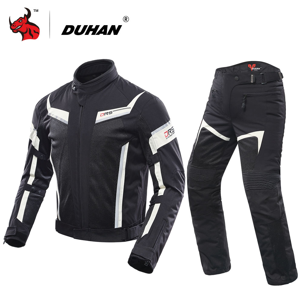 DUHAN Motorcycle Jacket Men's Breathable Motocross Off-Road Jacket Mesh Moto Racing Jacket Motorcycle Protective Clothing Black top good motorcycles mesh fabric jacket summer wear breathable hard protective overalls motorcycle clothing wy f607 green