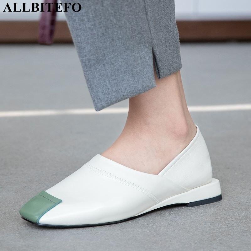ALLBITEFO comfortabele vol lederen lage hakken vrouwen schoenen hoge kwaliteit dames schoenen casual vrouwen hakken meisjes schoenen-in Damespumps van Schoenen op  Groep 1
