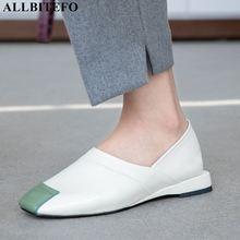 ALLBITEFO مريحة كامل جلد طبيعي منخفضة الكعب النساء أحذية عالية الجودة السيدات أحذية النساء غير رسمية الكعوب الفتيات الأحذية
