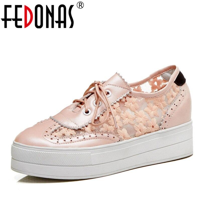 Fedonas 새로운 여성 신발 숙 녀 플랫 플랫폼 정품 가죽 달콤한 신발 여자 레이스 라운드 발가락 캐주얼 신발 여자 플랫-에서여성용 플랫부터 신발 의  그룹 1