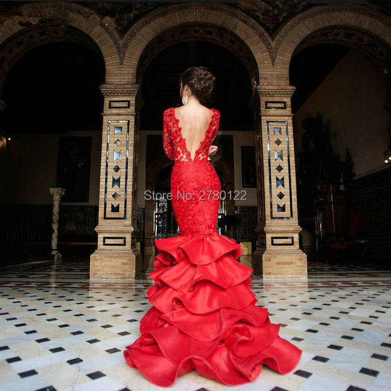 Red-Satin-Lace-Ruffles-Mermaid-Evening-Dresses-2016-Sexy-Backless-Chapel-Train-Formal-Gowns-Vestidos-De (1)