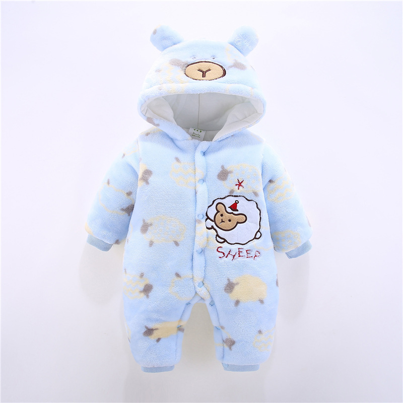 Winter Baby Clothes Children Girls Rompers Cartoon Soft Cotton Warm Thick Jumpsuit Boys Clothes Suit Newborn Outfits