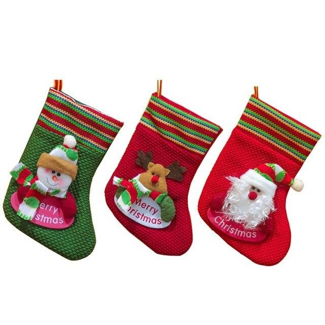 2017 christmas stocking plaid santa claus sock gift bag child xmas
