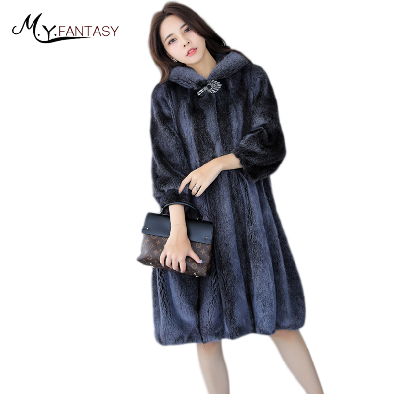 M.Y.FANSTY 2019 Imported Mink Fur Grass Velvet Mink Coat Female Whole Mink Coat in the Long Section of the Big Skirt with Cap