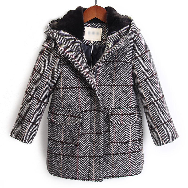 Boys woolen coat long-sleeved plaid zipper cardigan 2018 new Korean children's woolen coat cashmere coat children's wear one button design longline woolen coat page 7