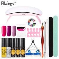 Ellwings 3 Color 6ml Glitter Gel Nail Polish Nail Art Manicure Tools 6W UV Lamp Nail