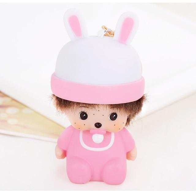 Pink Cute Monchichi Rabbit Dolls Pendants key chains key rings Fashion Valentine day gift jewelry for women girls