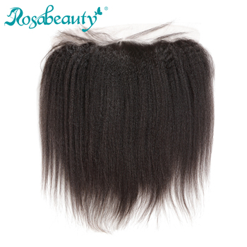 "Rosabeauty Kinky Straight Natural Color Lace Frontal Closure 13x4 Bleached Knots with baby hair Brazilian Remy Human Hair 8""-20"""