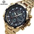 Полный Стали Золото Покрытие Часы Мужчины Военный Спорт Двойной Дисплей Наручные Часы Светодиодный Цифровой 24 Часов Часы Мужские Relogio Masculino