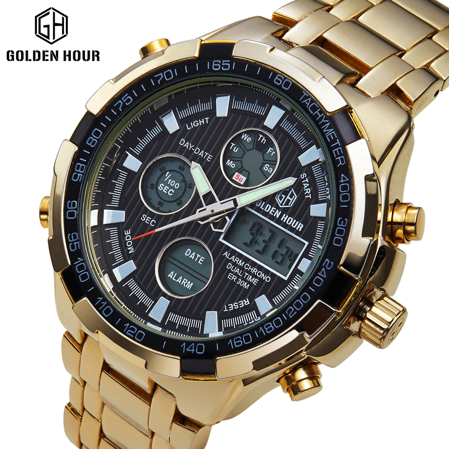Full Steel Gold Plating Watches Men Military Sport Dual Display Wristwatches Led Digital 24 Hours Clock