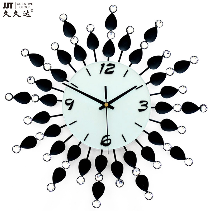 JJT iron diamond electronic wall clock fashion creative living room decoration guabiao mute wall quartz clocks 36*36CM