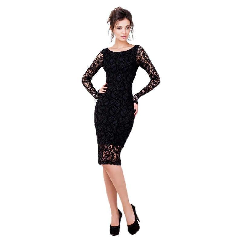 ... Kenancy 3XL Plus Size Sexy Lace Dress Women Party   Club Long Sleeve  Knee-Length ... b18aaa424ba5