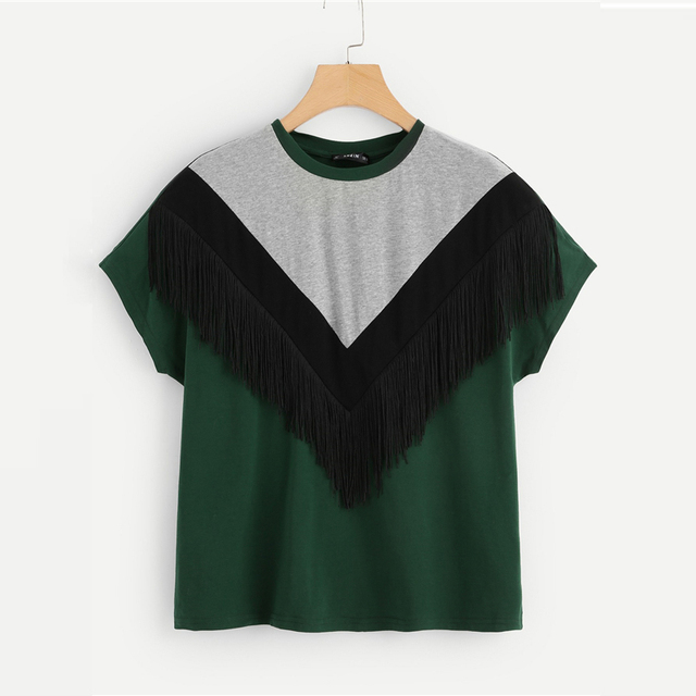 Color Block Cut And Sewn Fringe Top