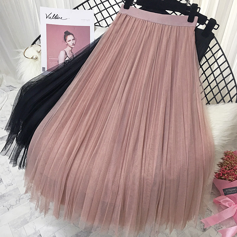 2019 Spring Summer Vintage Skirts Womens Elastic High Waist Tulle Mesh Skirt Long Pleated Tutu Skirt Female Jupe Longue