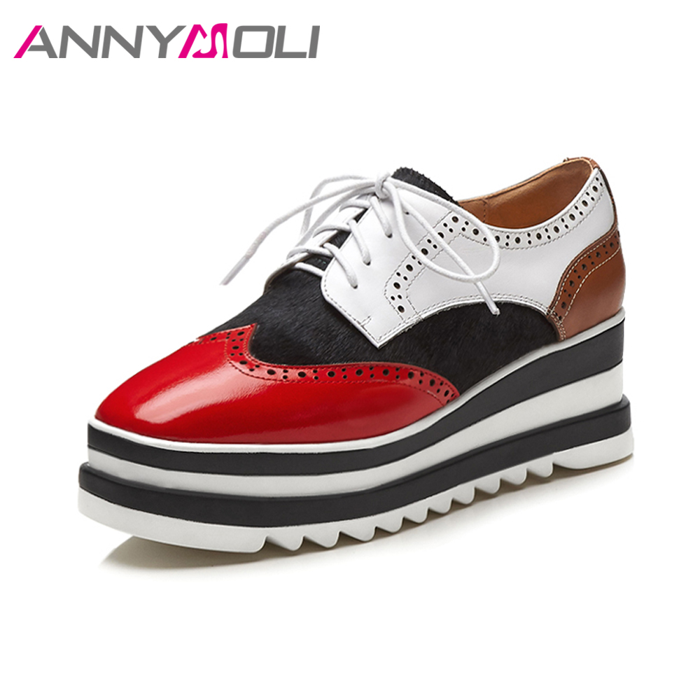ANNYMOLI Platform Shoes Genuine Leather High Heels Wedges Pumps Patent Leather Shoes Lace Up Cut Put Casual Shoes Spring Female bling patent leather oxfords 2017 wedges gold silver platform shoes woman casual creepers pink high heels high quality hds59
