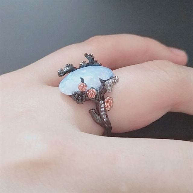 Beautiful Tree & Flower Jewelry Black Gold Color Romantic CZ Big Stone Acrylic Fire Opal Rings for Women Bands Statement Anel