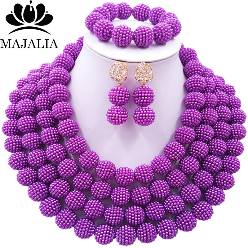 Majalia Fashion Women purple African Costume Jewelry Set Nigerian Wedding African Beads Jewelry Set CX-018 zanele muholi fotografas africanas african women photographers