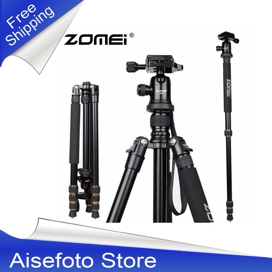 High Quality Aluminum Professional Tripod Monopod + Ball Head For DSLR camera Portable / SLR Camera stand / Better than Q666 new zomei z688 aluminum professional tripod monopod for dslr camera with ball head portable camera stand better than q666