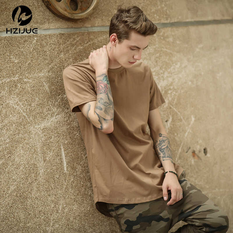 Hzijue湾曲した裾ヒップホップtシャツ男性アーバンkpop拡張tシャツ平野延縄男性tシャツ男性服ジャスティンビーバーカニエ