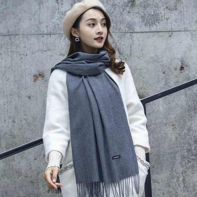 1299f22ea8d26 2019 Women Solid Color Cashmere Tassel Scarves Lady Spring Autumn Thin  Scarf High Quality Female Shawl