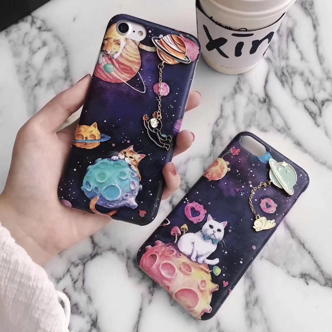 For iPhone 7 Cartoon Stars Case ,Lovely cat Phone Cases For iphone 6 6S Plus 7 7Plus Universe Series Phone Cases Capa + Pendant
