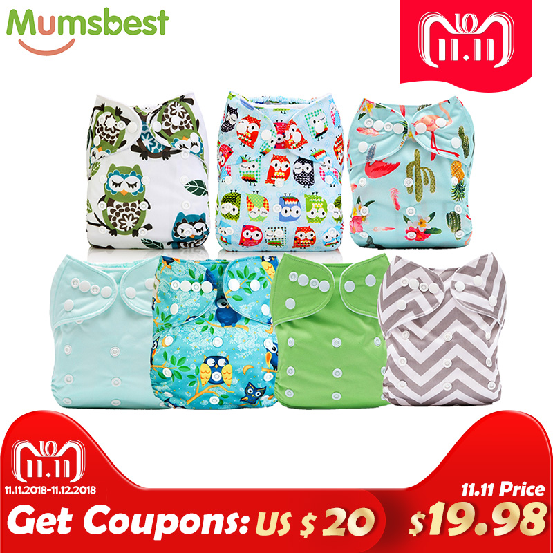 купить [Mumsbest] 7pcs/Lot Baby Cloth Diaper Real Wholesale Washable Reusable One Size Nappy Diaper Cover Wrap Nappies Diaper по цене 2869.49 рублей