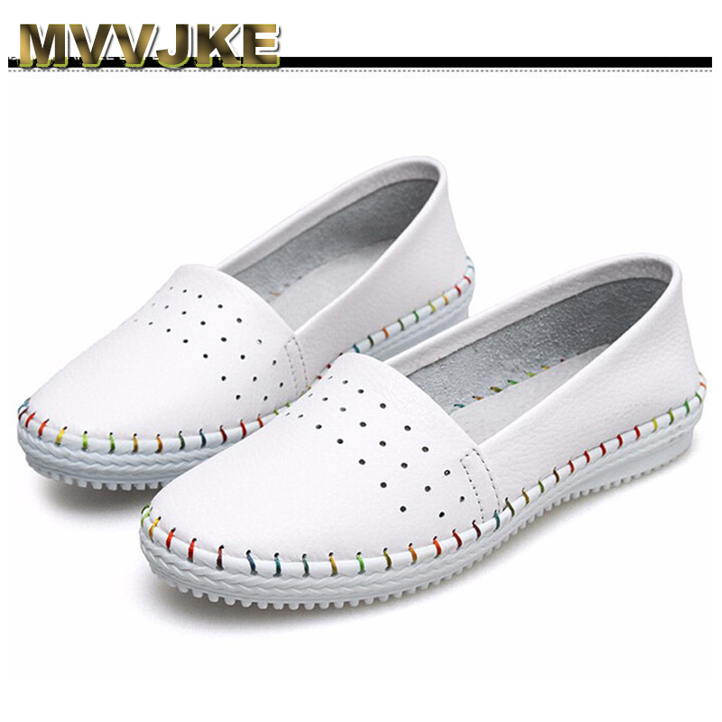 MVVJKE Spring autumn women ballet flats casual flat shoes soft genuine leather shoes ladies Slip on brand loafers flats shoes