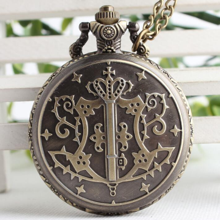 New Fashion Kuroshitsuji Bronze Butler Quartz Pocket Watch Analog Pendant Necklace Men Women Watches Gift
