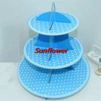35cm Polka Dot Party Blue 3 Tier Card Cup Cake Cupcake Stand Tray