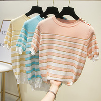T shirt blouse with round collar, shiny gold silk, shiny silk, colliding color stripes, thin ice silk knitted shirt