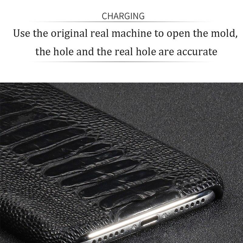 Natürliche Straußen Leder Für Huawei p30 pro high end leder telefon fall für Huawei p30 Lite p20 pro p20 herbst schutz hülse - 4