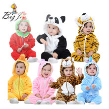 Romper Jumpsuit Playsuit Baby children Animal Flannel Pajamas Infant Girls boys clothes Kids child Winter Tiger Panda Play Mats(China)