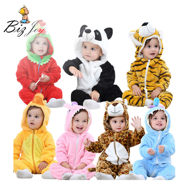be1e46017c Romper Jumpsuit Playsuit Baby children Animal Flannel Pajamas Infant Girls  boys clothes Kids child Winter Tiger Panda Play Mats