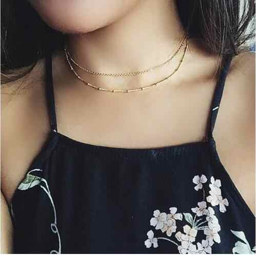 N847 gótico punk encanto oro y plata cadena cobre cuentas doble capa collar nuevas mujeres accesorios de moda