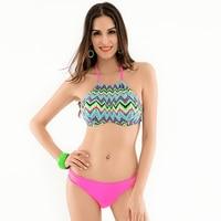 2016 New High Neck Bikini Top Halter Swimwear Bandage Swimsuit For Women Push Up Bikini Set