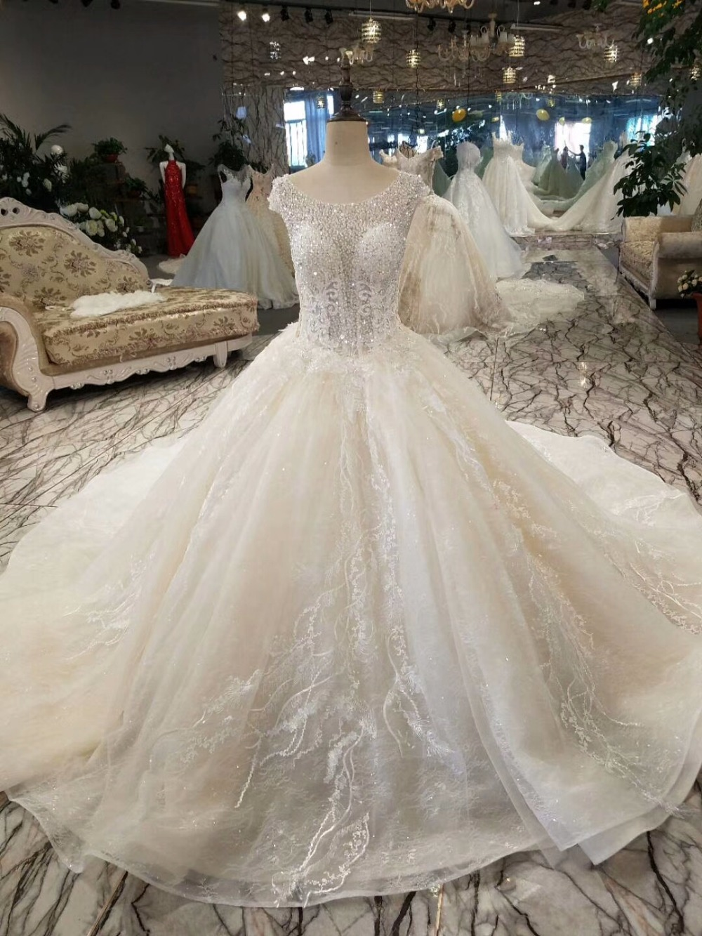3d3913300d US $499.92 |Backlake Top Design Luxury Full Pearls Beading Crystal A Line  Wedding Dress 2018 Royal Train Bridal Gowns Vestido de Noiva -in Wedding ...