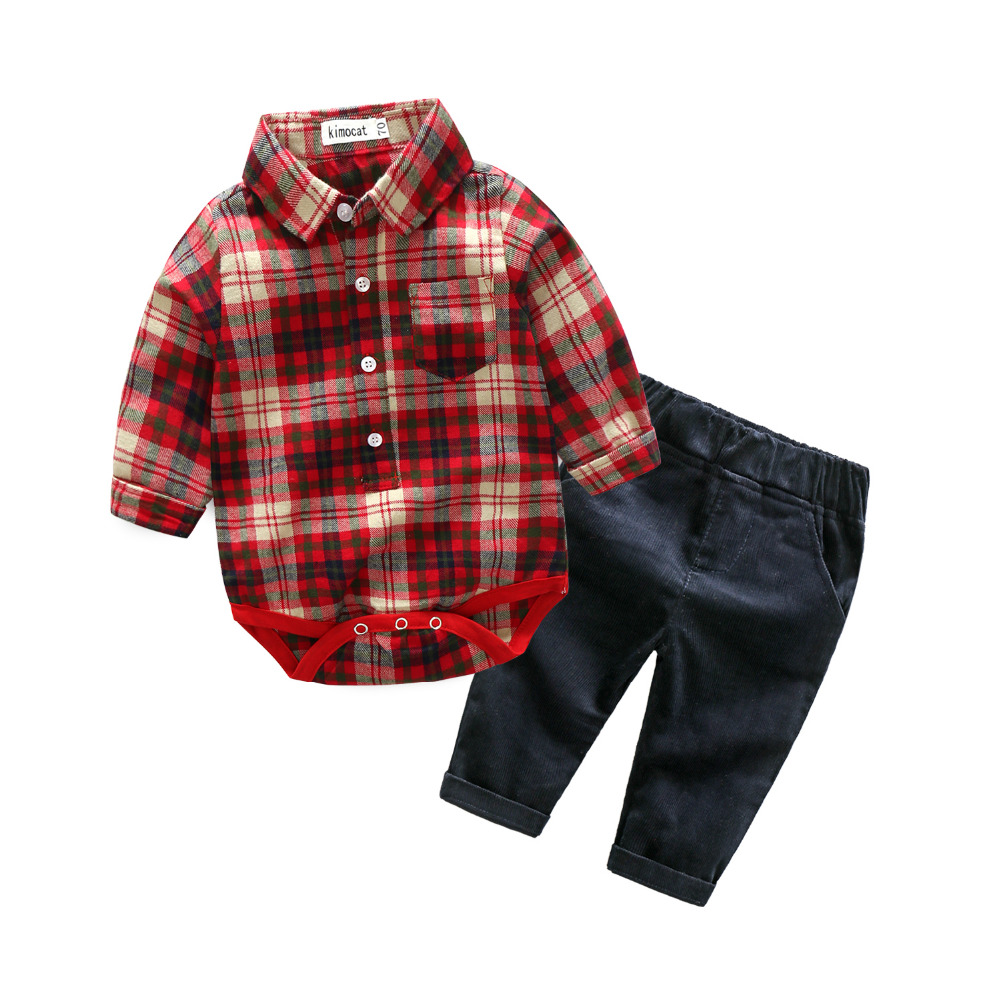 Kimocat Casual Newborn Baby Boy Clothes Two Colors Romper Plaid T-Shirt And Long Pants Outfits 2Pcs