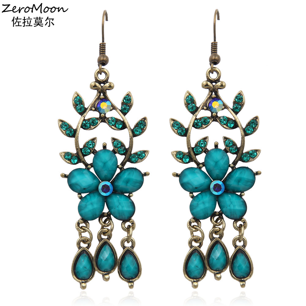 Crystal Rhinestone Flower Dangle Earrings Women Metal Branch Tree Teardrop  Acrylic Vintage Fashion Jewelry 29c5fb592b03