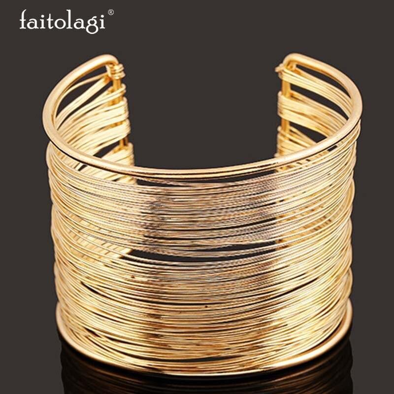 choisir l'original femme riche et magnifique US $1.69 40% OFF|Bracelet Wide Gold Plateed Bracelet Ethno Decorations  Jewelry Metal Indian Bracelets Multilayer Bangle Women Jewelry-in Bangles  from ...