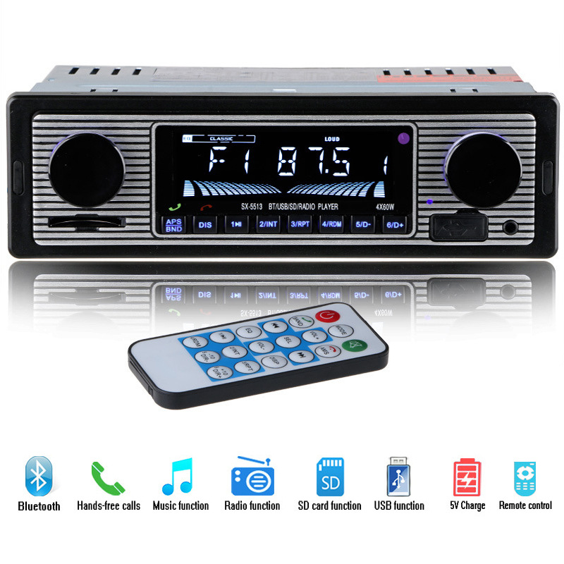 Car Stereo FM Retro Radio 12V Bluetooth MP3 Car Player Hands-free Bluetooth MP3 Player Radio with USB and SD Car Radio Player luces led de policía