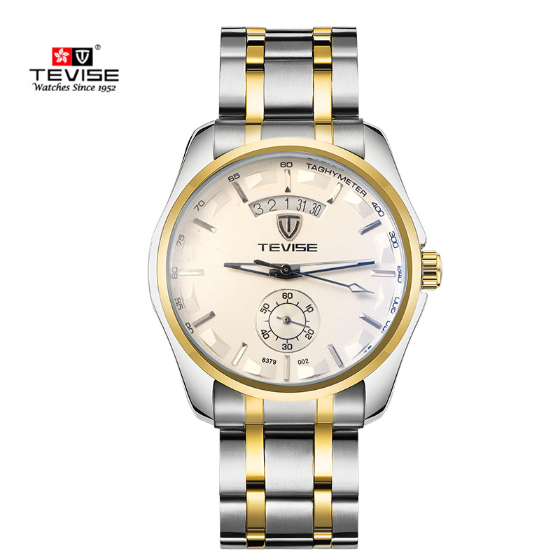 Fashion TEVISE Watches Mens Self Wind Automatic Mechanical Watch AUTO Date Full Steel Casual Men Wristwatch Relogio Masculino women favorite extravagant gold plated full steel wristwatch skeleton automatic mechanical self wind watch waterproof nw518