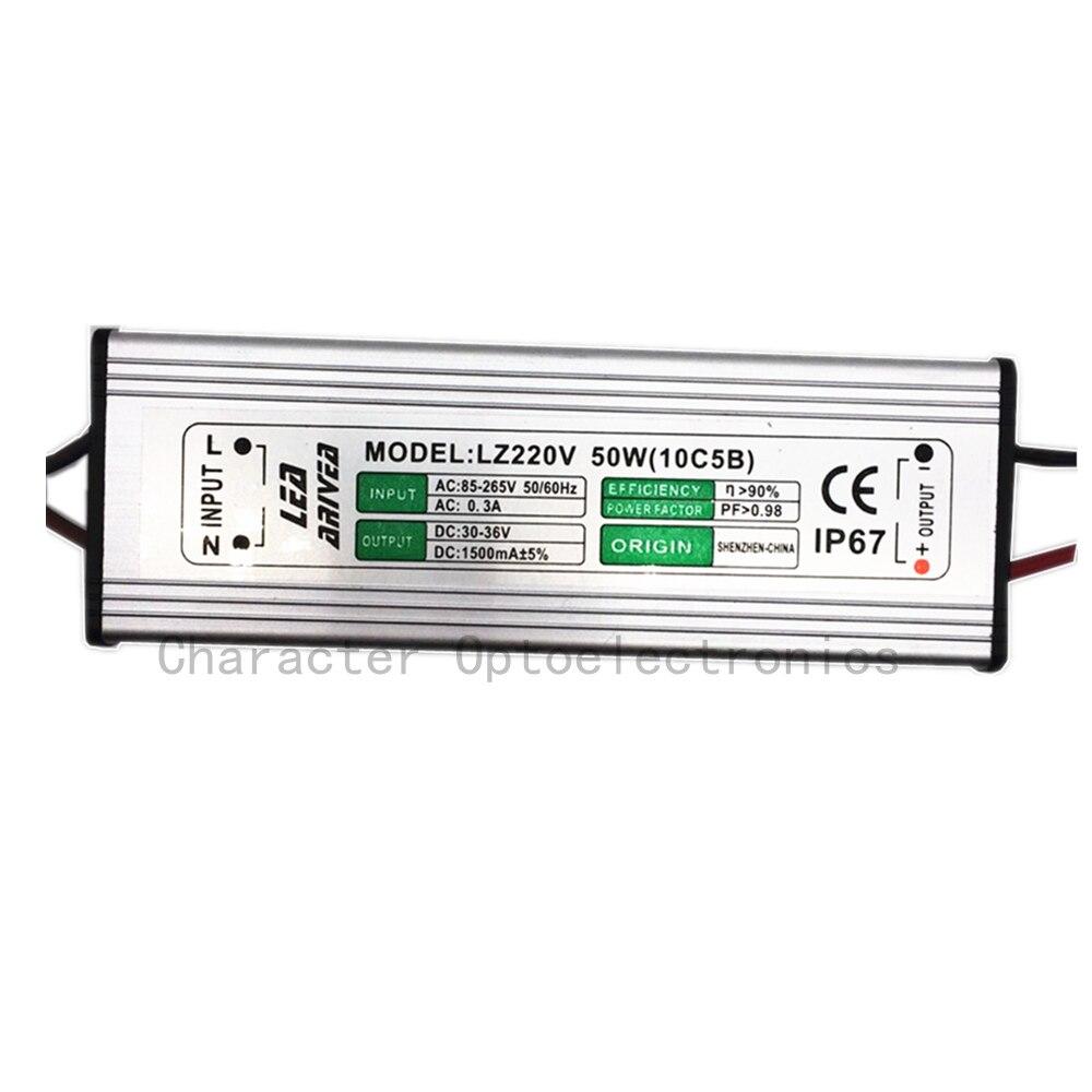 10PCS 50W LED Driver 1500mA 30-36V COB Vysokovýkonný LED diodový světlomet IP67 LED napájecí zdroj LED světlometový ovladač