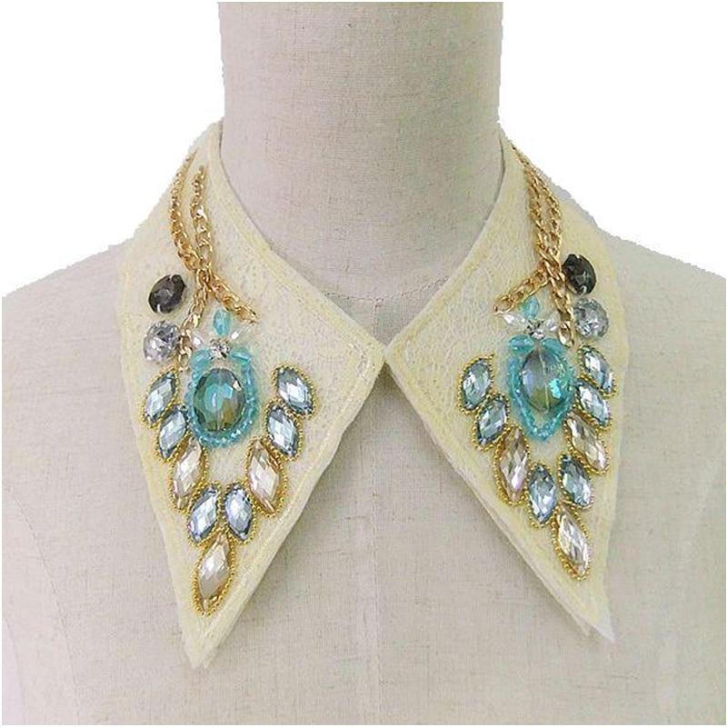 CirGen Fashion Handmade Cloth Chokers Metal Chain Crystal Lace cover Statement Triangle Collar Choker Bib Necklace Women Jewelry