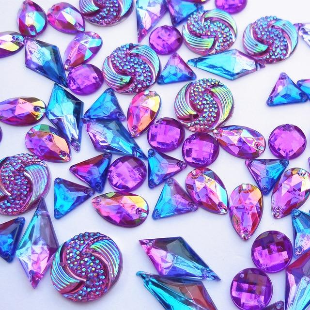 NEw Purple royal blue Flatback Crystal stone strass sew on ...