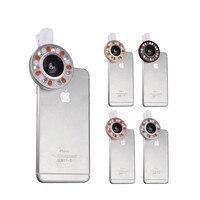 Lentes de teléfono LED Flash Clips de Luz de Relleno de 4 Archivos de Atenuación Gran Angular Autofoto Lente Macro Para iphone 4 5c 4S 5 5S SE 6 6 s 7 Plus