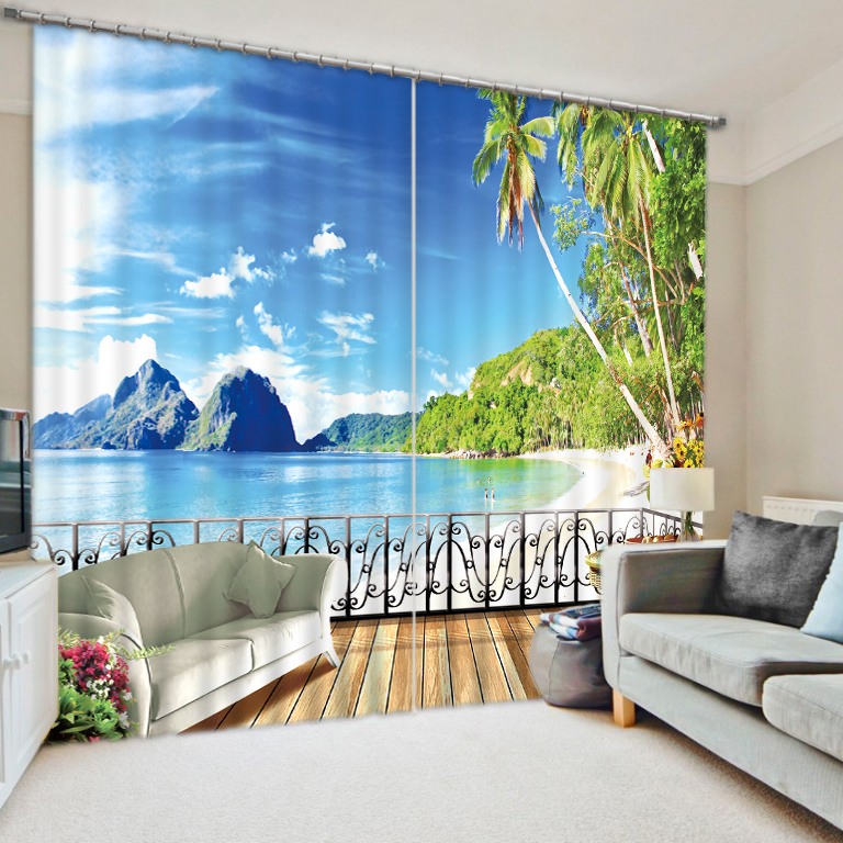 beach Landscape Scenery Beauty Digital Photo Printing Blackout 3D Curtains for Living Room Bedding Room Hotel Drapes Cortinas