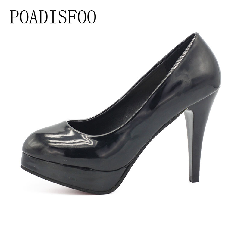 POADISFOO 2018 New Womens Shoes Sexy White Pumps Platforms Pumps Four Seasons Solid Shoes Thin Heel shoes .DFGD-05B2