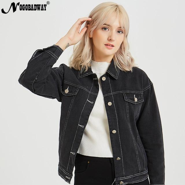 5c902bb756 Bordado jaqueta jeans jean mulheres casuais casaco feminino outono inverno  2018 moda preto bts outerwear para senhoras roupas femininas